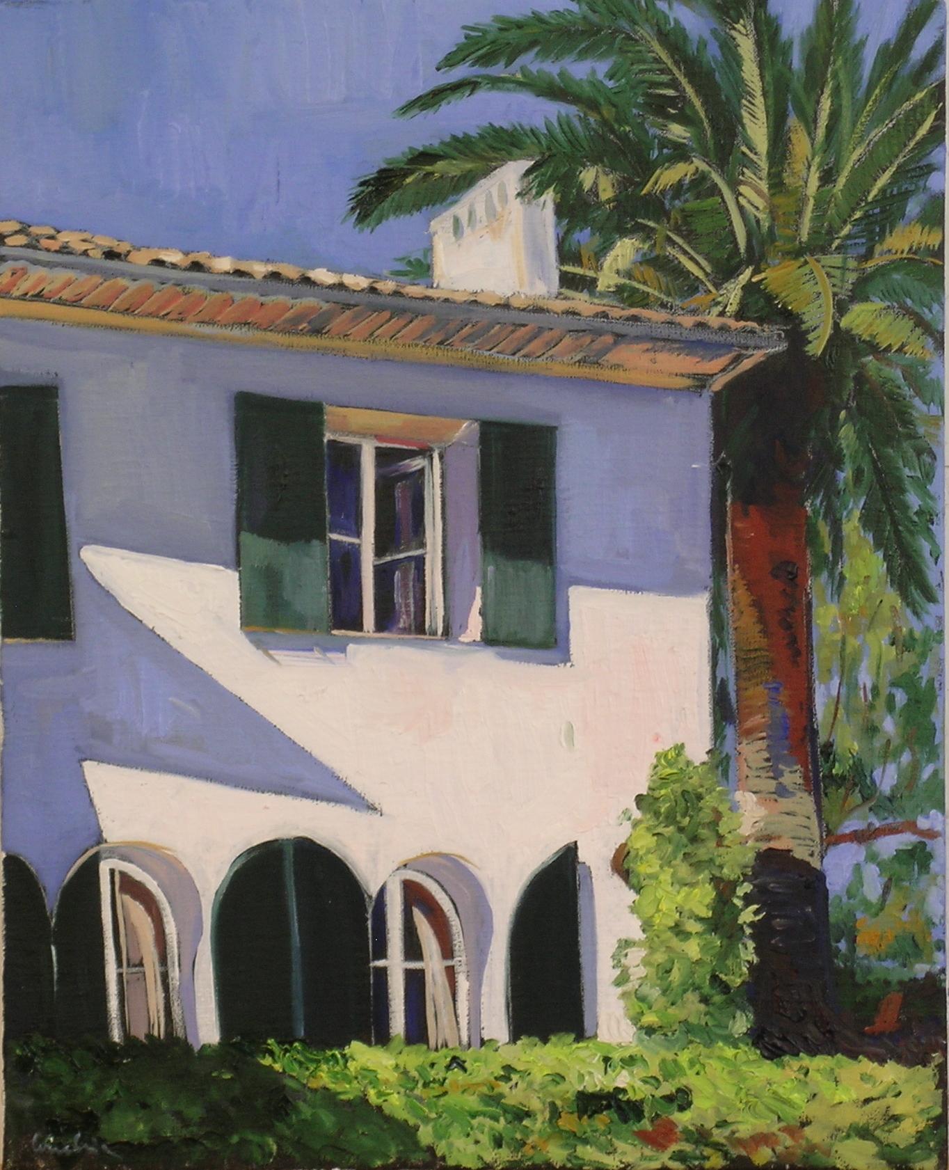 facade blanche au palmier