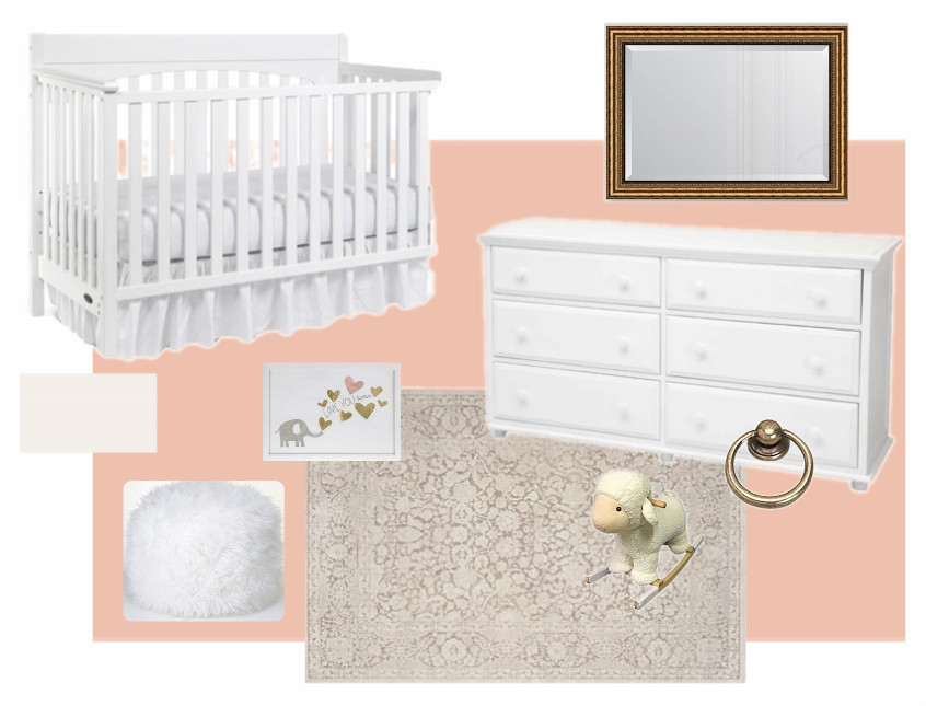 The design board for the nursery.