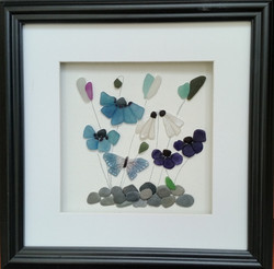 Sea Glass Flowers in 35cm Square Fra