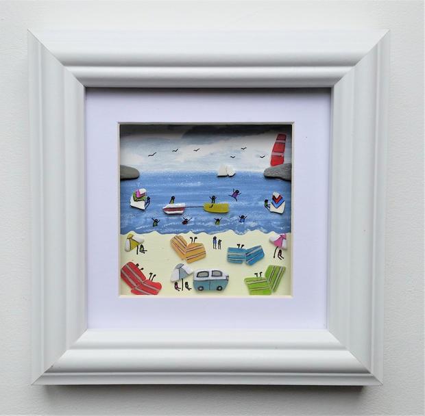 small frame beach scene