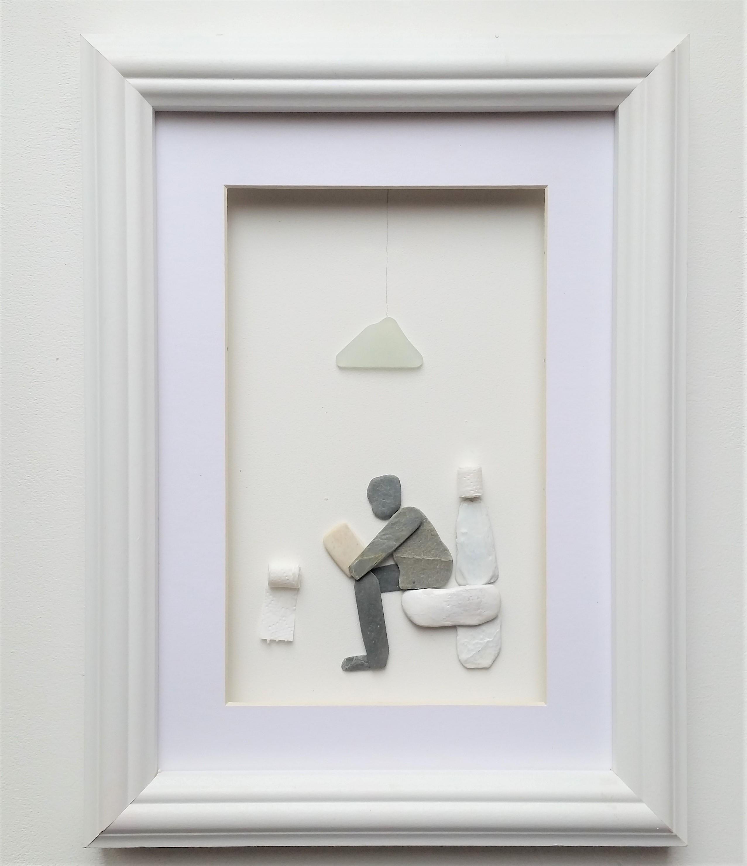 pebble art man on loo portrait