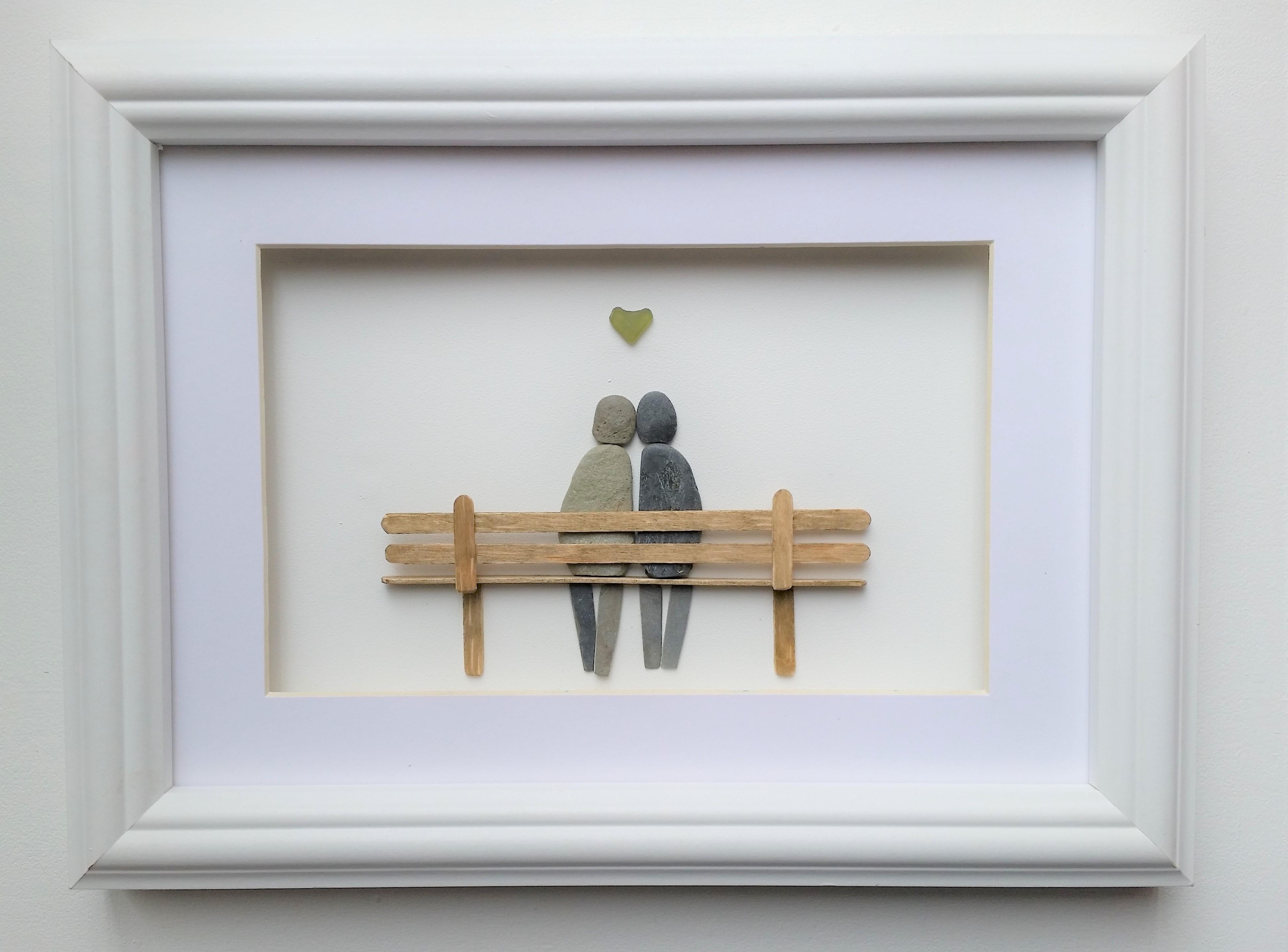 pebble couple on bench