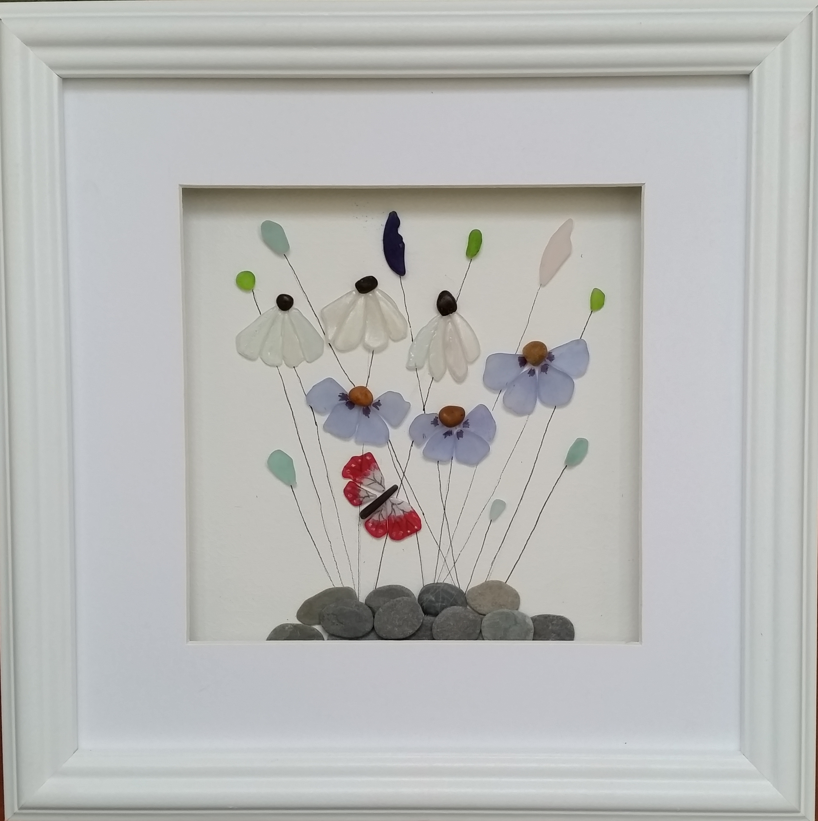 Sea Glass Flowers 35cm Square