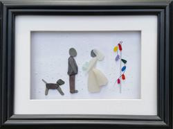 Bride, Groom, dog & Fairy Lights