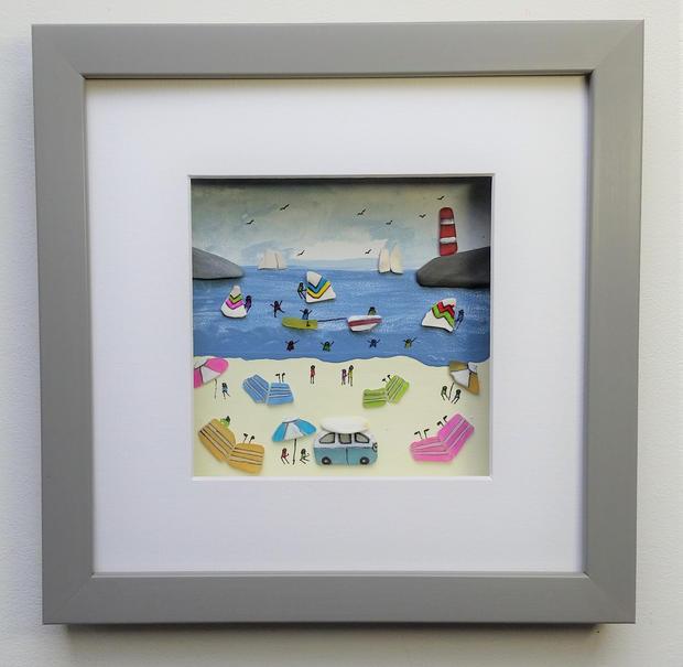 Sea glass Cornish beach scene