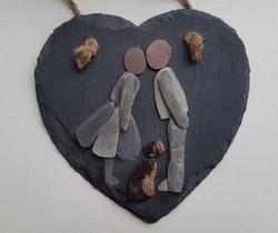 Kissing Couple on 15cm Slate Heart