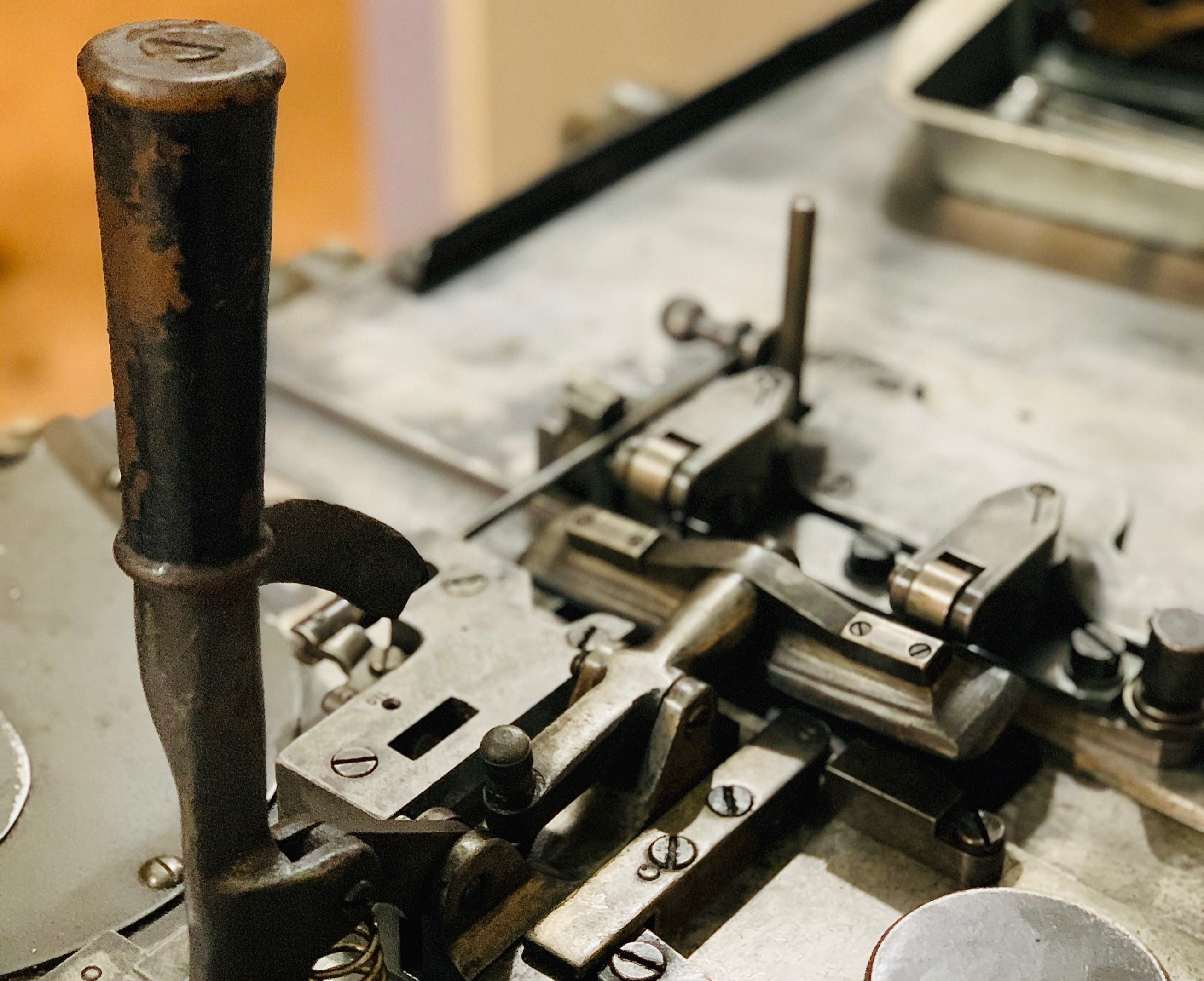 Top handle of a Ludlow Typograph machine