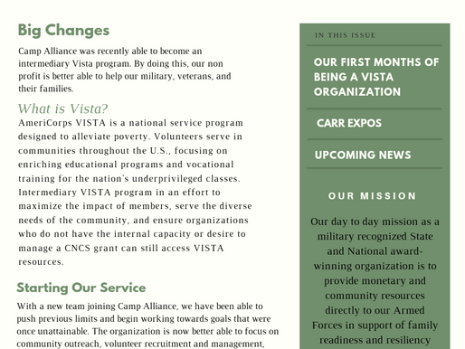 Camp Alliance's Monthly Newsletter