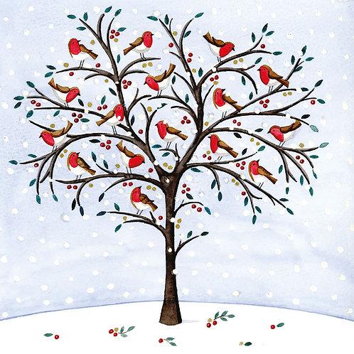 Robins on a Snowy Tree