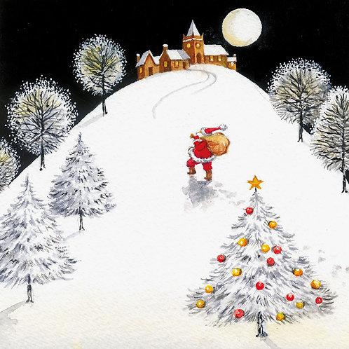Santa Walking Up Hill