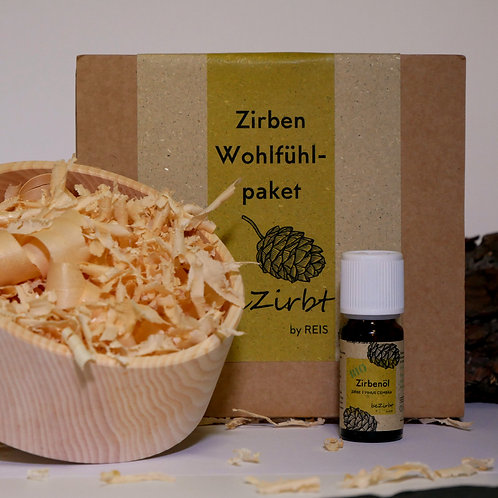 Wohlfühlpaket Kleine Zirbenschale & -späne & Zirbenöl im Karton