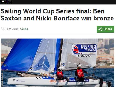 BBC News - Sailing World Cup Series final: Ben Saxton and Nikki Boniface win bronze