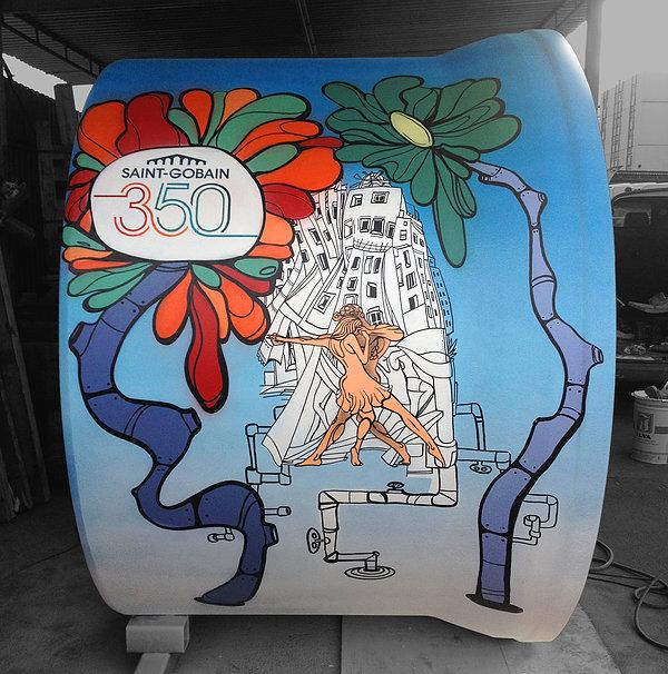 Graffiti malba pro Saint Gobain k příležitosti 350 let existence firmy
