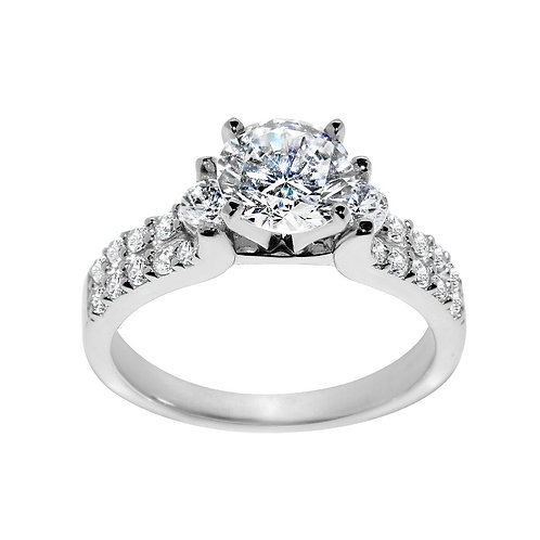 14k White Gold 1 3/4ct TGW Round-cut Diamonette Engagement Ring