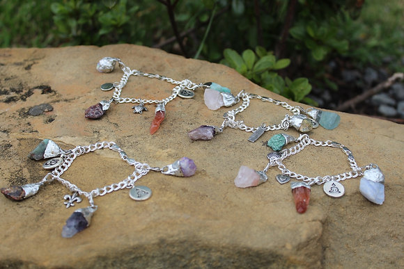 3 Raw Crystal Charm Bracelet (Love Attraction, Money Attraction, Protection)