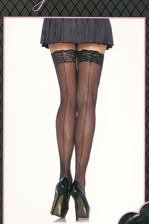 Seamed Lace Top Stockings