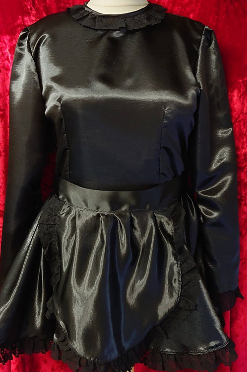 Black Satin Maids Dress, Round Neck L/Sleeved & Apron with Black Lace