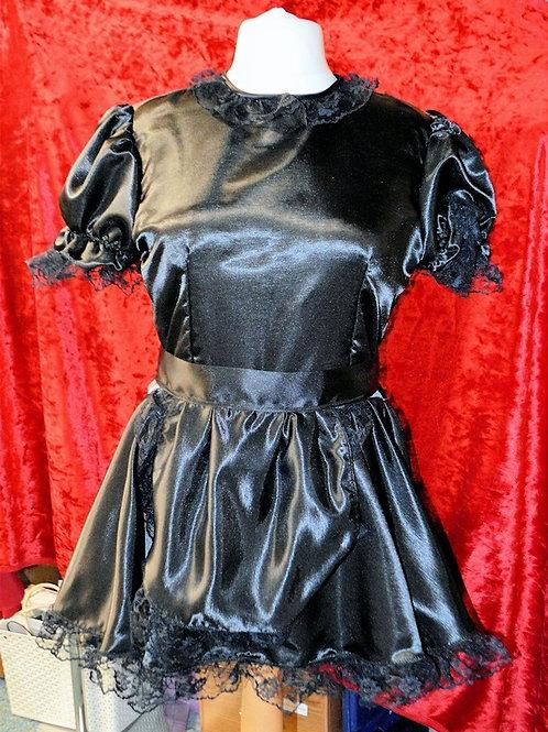 Black Satin Round Neck Short Sleeved Maids Dress & Apron with Black Lace Trim