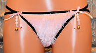 Pink fur thong with beads and front bows