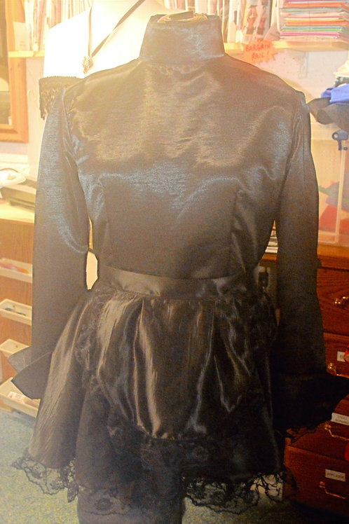 Satin Maids Dress with High Neck, Long Sleeves (Made to Measure)