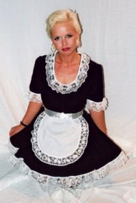 Maids Dress in Black Cotton trimmed with Lace