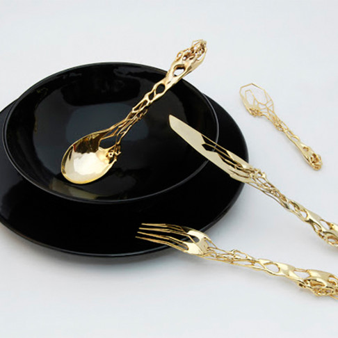 3D Printed 18 KT Gold Plated Cutlery