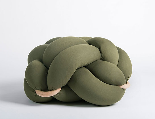OLIVE GREEN KNOT FLOOR CUSHION (Medium)