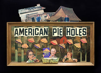 """American Pie Holes. Paper collage, two cut cardboard thrift store print paintings, plastic signage letters & spray paint on cardboard thrift store print paintings. 2020.  37h"""" x 50w x 1.5d"""""""