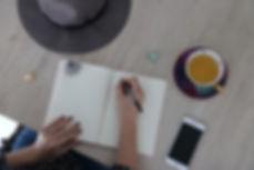 journaling tea crystals writing phone hat coaching inner self self-help