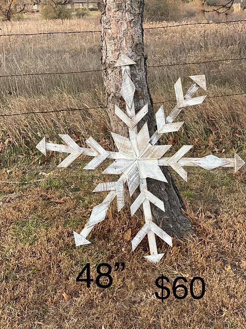 "48"" Primitive white washed snowflake"