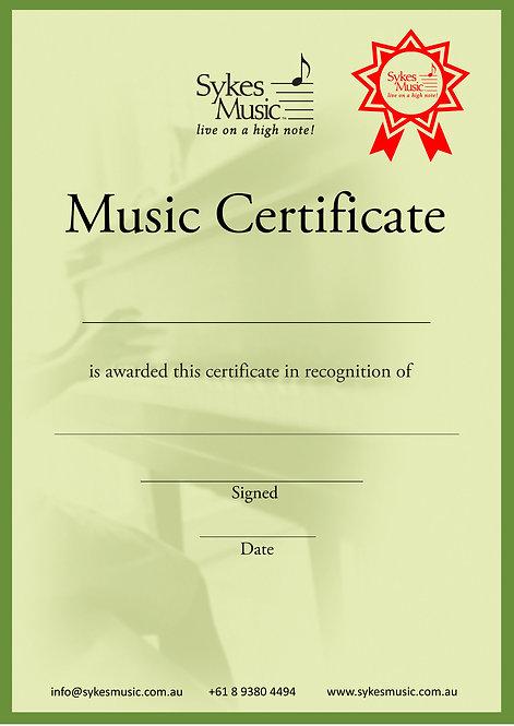 Sykes Music A4 Certificate (10pk)