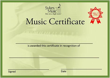 Sykes Music A5 Certificate (10pk)