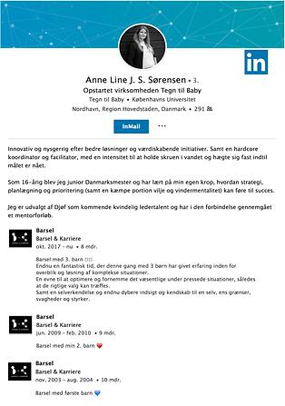 LinkedIn profil med barsel på CV