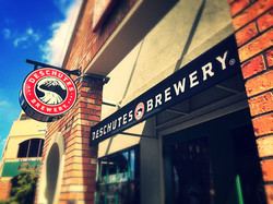 Deschutes Brewery custom lit sign & awning with screen-sprinted graphics