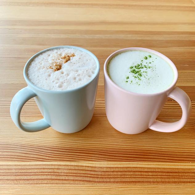 Hot drinks chai oatmilk matcha