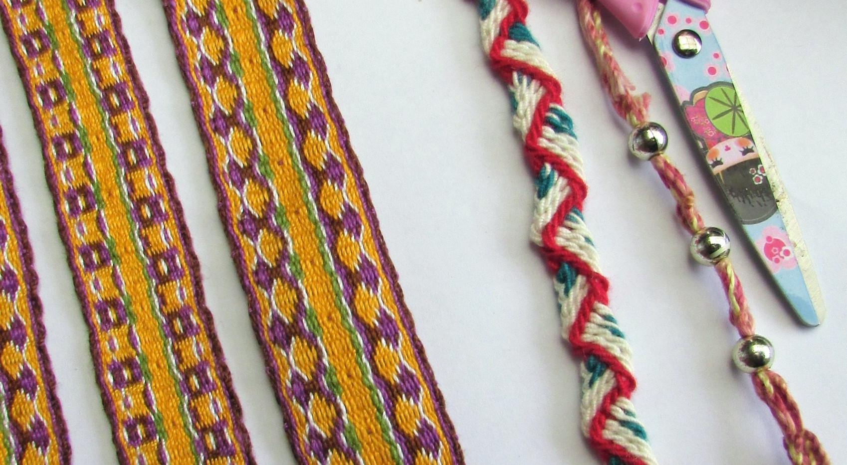 Tablet weave, ply split braiding