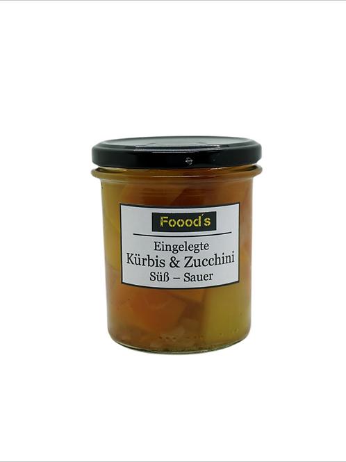Eingelegte Kürbis & Zucchini süß-sauer