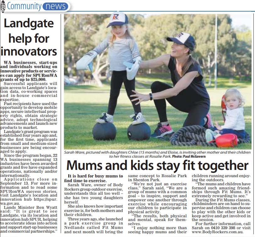 Sarah Ware launches Body Rockers FIT MUMS Exercise Classes at Rosalie Park
