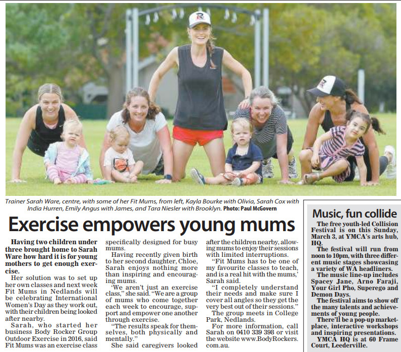 Body Rockers Outdoor Exercise. Owner Sarah Ware and Fit Mums