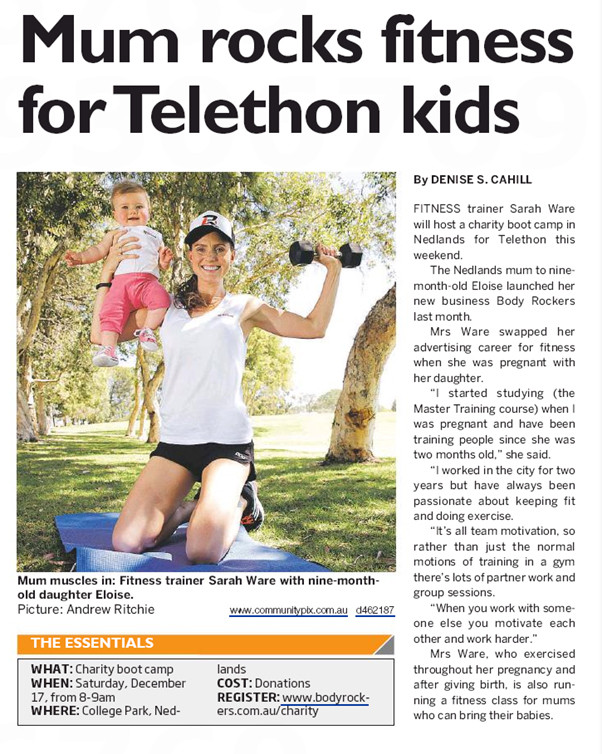 Body Rockers owner Sarah Ware features in the Western Suburbs newspaper