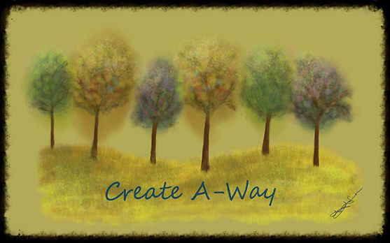 Golden field colorful trees, digital art for example of beautiful acrylic, any season great to Create A-Way