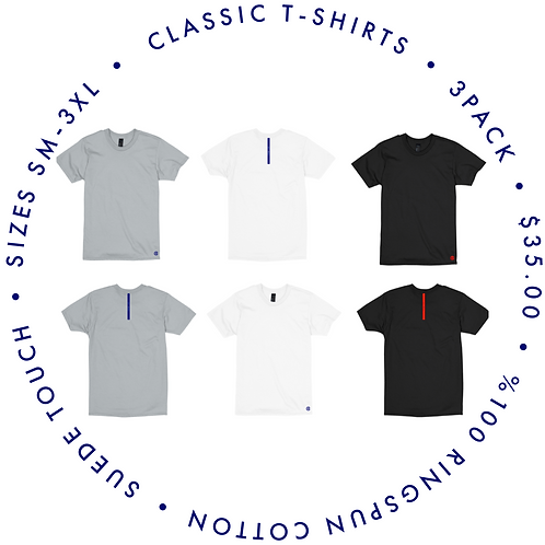 classic suede touch T-shirt (3pack)