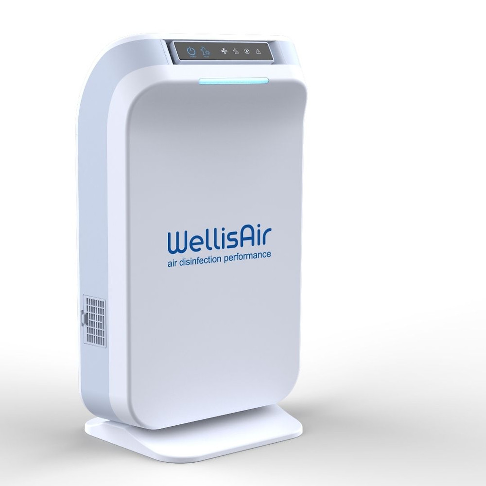 wellis air purifier with blue logo in its center