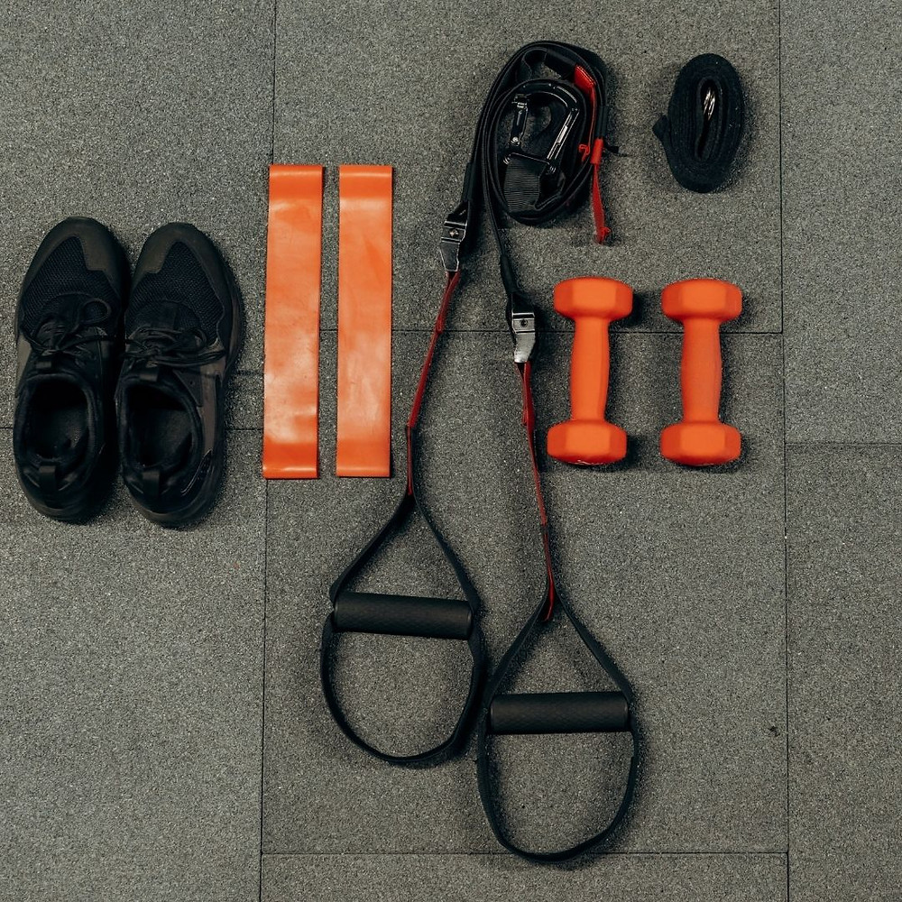 Fitness equipment placed on the floor