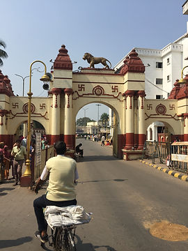 Gate to Dakineshwar Kali Temple in Kolkata where I was accosted by little old lady thugs.