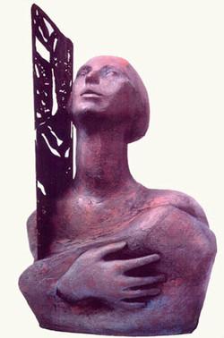 Elena Vincenzi - _Santa Francesca Saverio Cabrini_ - terracotta e ferro , in esposizione presso il M