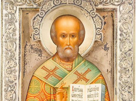 Ikone mit dem heiligen Nikolaus dem Wundertäter mit Silber-Riza, Russland, Moskau, D. Smirnow, datie