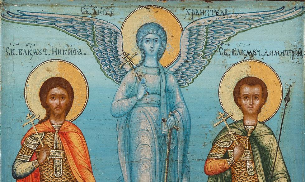 Signierte Ikone mit drei Heiligen, Russland, Ossip Chirikov, datiert 1894