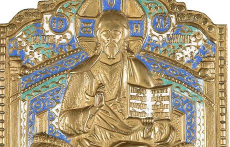 Bronze-Ikone mit dem thronenden Christus, Russland, 19. Jahrhundert