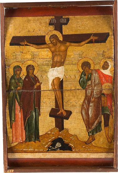 MUSEALE IKONE MIT DER KREUZIGUNG CHRISTI